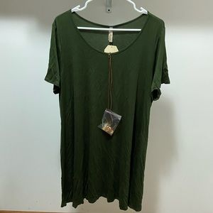 Plus Size Green Shirt Dress With Necklace 3X NWT